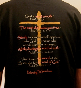 """What is Truth""—Pontius Pilate   Tee Shirt by Balancing the Sword  - Back 2"